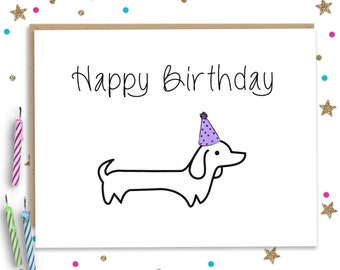 Wiener Dog Birthday, Dachshund Birthday, Dog Birthday Card, Funny Birthday Card, Funny Birthday Cards, Wiener Dog Card, Puppy Birthday Card