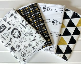 Black and White Adventure~ Baby Boy Chenille Burp Cloths