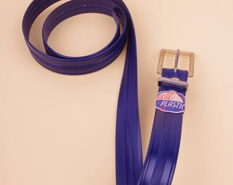 Marine Blue 50s 'Real Plastic' Belt (Unworn) M/L // NOS Fifties Belt made from Plastic with Metal Buckle