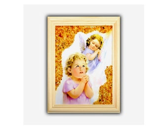 Amber Picture Painting Baby And Angel Wooden Frame Decorated With Genuine Amber
