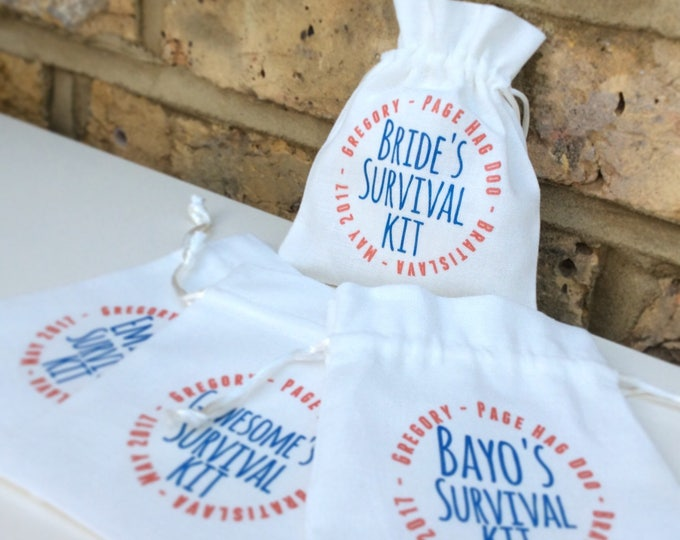 Personalised bags hangover helper, survival kit hen do or wedding pouches, any wording & colour font. Favours, baby shower, recovery kits
