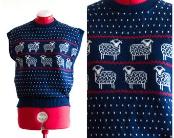 Dark blue wool sweater vest with sheep design from Pendleton