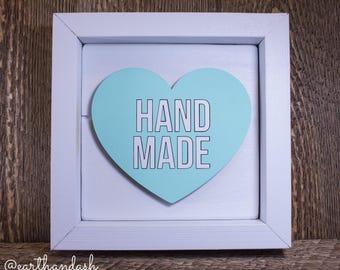 """Framed Lasercut Conversation Heart """"Hand Made"""""""