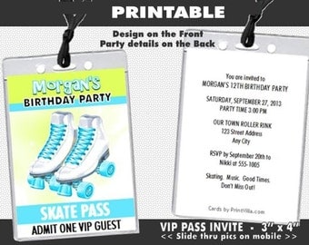 Roller Skates VIP Pass Invitation, Printable, Roller Skating, Girl Birthday Party, Invites for Roller Rink, Teal or Pink