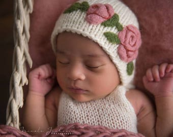 Rose Felted Bonnet (made to order) - newborn photo prop - merino wool and needle felted flower motif