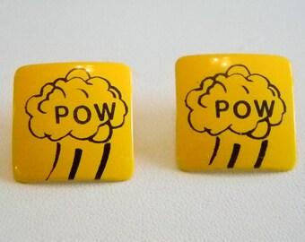 Square Yellow/Black DC Comic POW Pierced Earrings