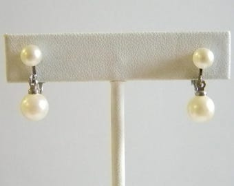 Dainty White Pearl Dangle Screw Back Earrings