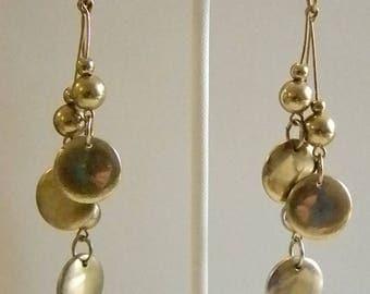 Long Gold Tone Dangle Beaded Pierced Earrings