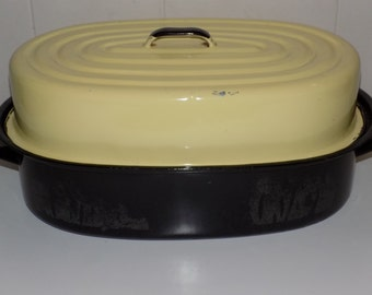 Vintage Enamelware Roaster Black Cream Roasting Pan