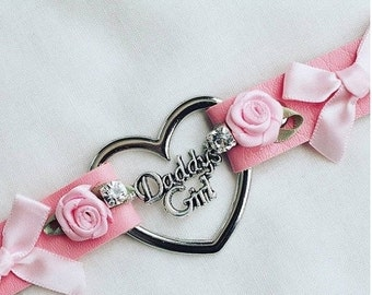 30%offsale daddys girl faux leather lolita bow rhinstone and roses day collar heart ddlg ready to ship