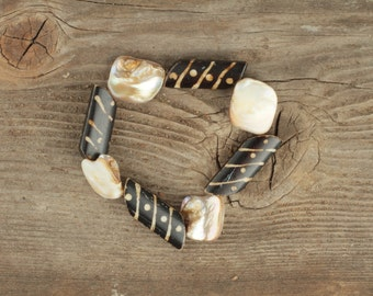 Tribal and Mother-of-Pearl Stretch Beaded Bracelet