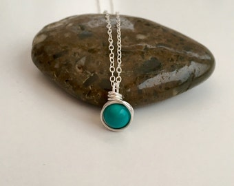 Turquoise pendant, December birthstone jewellery, silver wire wrapped Turquoise necklace, gift for her, girlfriend gift, minimal