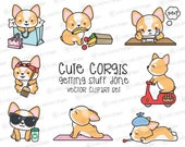 Premium Vector Clipart - Kawaii Corgi - Cute Corgi Planning Clipart - Instant Download - Kawaii Clipart