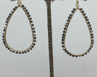 Dark silver/gray beaded drop earrings