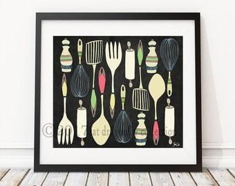 Kitchen Utensils Art retro kitchen art | etsy