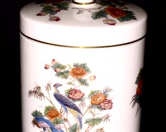 Kutani Crane Wedgewood Bone China Made in England Kutani Crane Multi Purpose Jar with Lid Bright Beautiful Colors