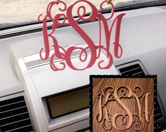 Wooden Rearview Mirror initial charm