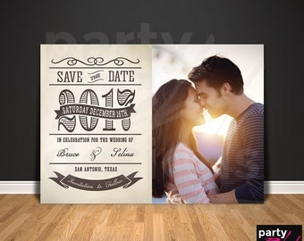 Vintage Save The Date, Rustic Save The Date, Save the Date Printable, Photo Save The Date, Save The Date Postcard, Wood Invitation, STD60