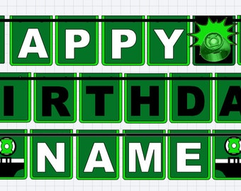 Green Lantern Banner, Green Lantern Birthday Banner, Green Lantern, Superhero
