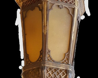 Pair of Antique Brass Lanterns with Slag Glass, Antique lanterns, Brass lanterns