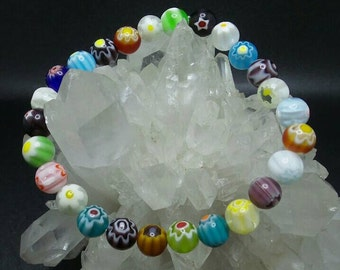 Millefiori Glass Beaded Stretch Bracelet.