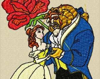 Beauty and the Beast Fill Stitch - Machine Embroidery Design - Instant Download - Two Hoop Sizes