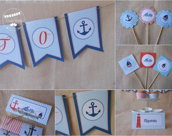 Printable Nautical Birthday Party,Blue and Red,Printable PDF, Party Decor,Birthday Decorations, Nautical Printable