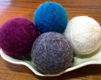 Felted Wool Dryer Balls, Set of 4 - Purple, Teal, Ivory and Gray