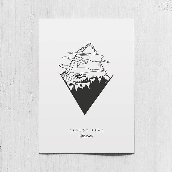 Poster Art Print - Cloudy Peak - Blackwork Series A5 Size - Fire Fores...