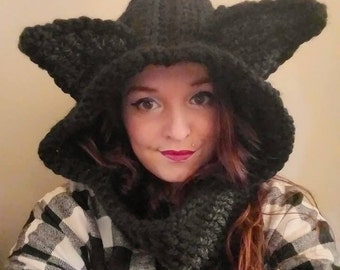 Black Cat Hoodie Cowl
