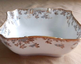 SALE Limoges France Serving Bowl - Floral and Leaf - Charles Field Limoges Porcelain - GFH/GDM Serving Dish - Antique Haviland Limoges