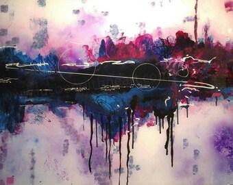 Dawn, modern abstract acrylic painting on plexiglass