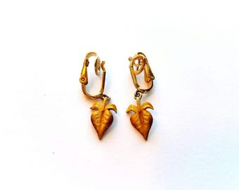 Vintage Gold Dangle with Hand Painted Fall Leaf Clip On Earrings