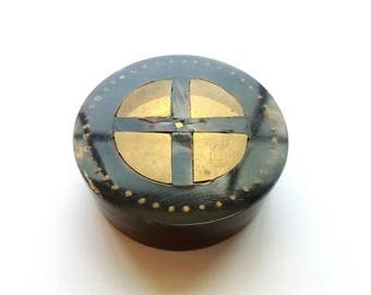 Vintage Round Laquered with Brass Inlay Trinket Box, Jewelry Box, Ring Box, Valet Box, Home Decor