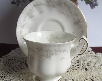 Paragon EXMOOR White with Platinum Trim Bone China Tea Cup and Saucer