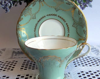 Aynsley 1460 Light Olive Green with Gold Details Corset Shape Bone China Tea Cup and Saucer