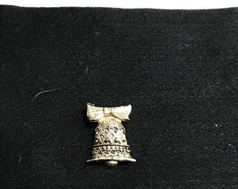 Gold Tone Christmas Bell Pin / Brooch