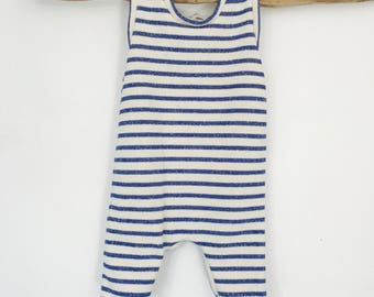 Combination unisex white to blue stripe 3/6 months