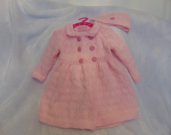 knitted baby coat and hat set