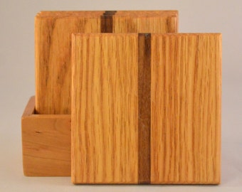 Oak with Walnut Stripe Coasters (MC009b)