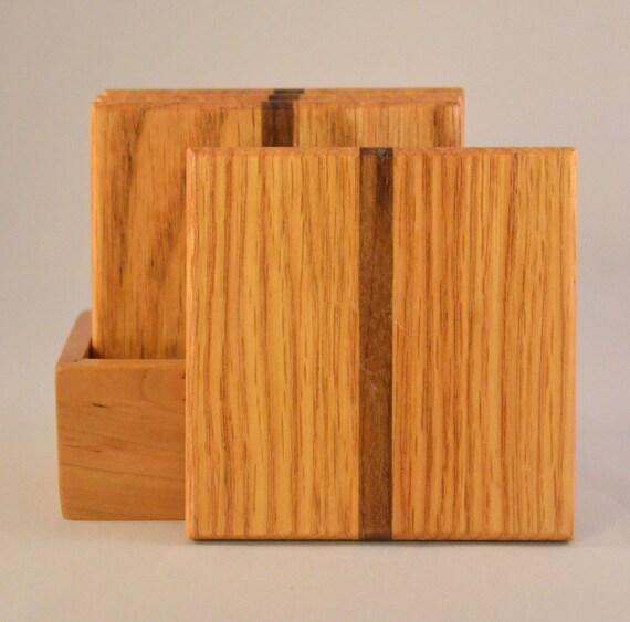 Oak with Walnut Stripe Coasters (MC009a)