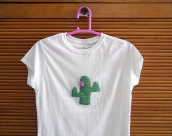 women's white t-shirt embroidered with cacti and pink flower