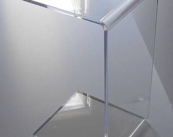 "Clear Acrylic Lucite Plexiglass END SLIDE TABLE lucite 23"" high couch laptop"