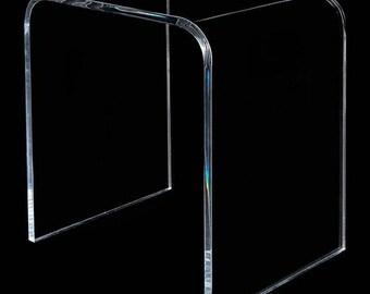 "21""x 12""x 21"" high x 1/2"" Clear Acrylic END TABLE lucite plexiglass modern contemporary"