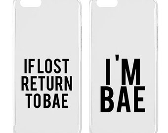 Couple phone case - Couple iPhone case - iPhone case - If lost return to bae - Cute - Teen gift | SNT-015-SLIM-PERFCASE