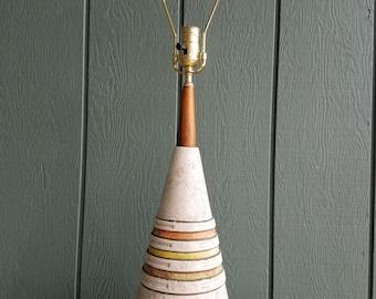 Vintage Mid-Century Ceramic and Wood Table Lamp