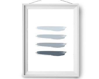 Minimal Print, Gray Art, Brush Strokes Print, Grey Home Decor, Digital Print, Abstract Art, Nursery Print, Paintbrush Art, Digital Painting