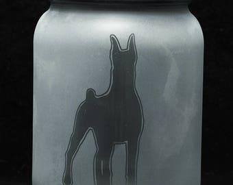 Solar Mason Jar Light (Hand Etched Miniature Pinscher)