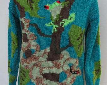 Hand knitted Snake and Frog Sweater