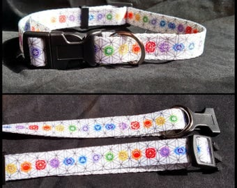 Chakra pet collar dog cat sacred geometry flower of life